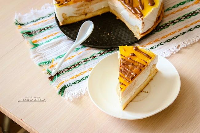 Торт-суфле с апельсиновым кули