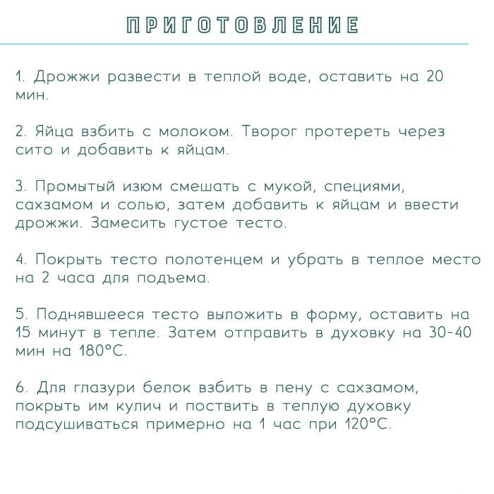 рецепт кулича пп